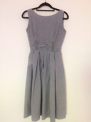 Vintage 1950s Gingham Cotton Sundress with ruched waist - full skirt