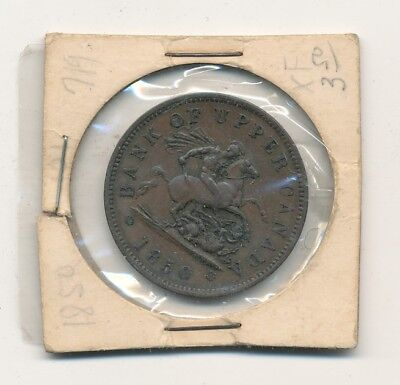 1850 Bank Of Upper Canada Bank Token One Penny - Free Shipping
