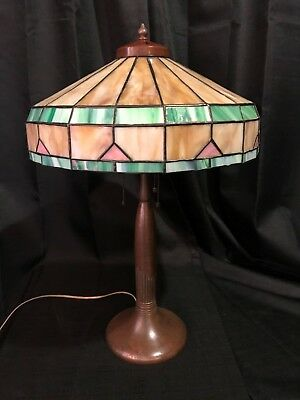 Antique Bronze Handel Table Lamp Art Deco Leaded Slag Stained Glass Shade