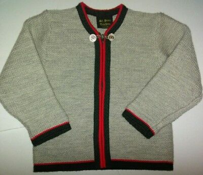 St Peter Trachten German Knitted Gray Cardigan Green/Red Sweater Size 116 6