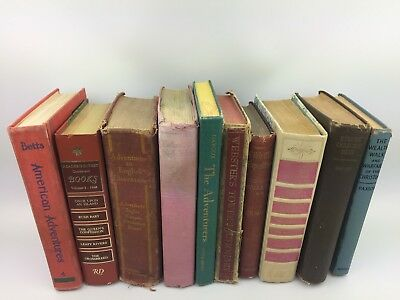 Random Lot of 10 Antique Hardcover Books from 1800's - 1960's Decorating Vintage