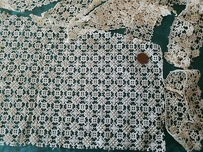 French Antique Heavily embroidered lace Schiffli trim  flowers curtain bobbles