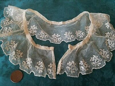 antique collar Embroidered net lace French Shiffli trim vintage 17""