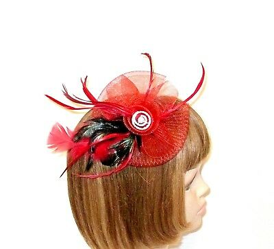 Red Fascinator Rhinestones Feathers Pin Clip Decoration Hat Society Ladies