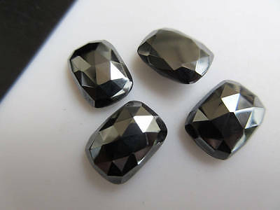 6pcs 14x10mm Calibrated Natural Hematite Cushion Shaped Rose Cut Cabochons BB458