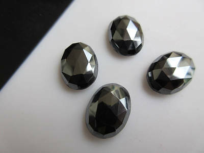 6pcs 16x12mm Natural Hematite Oval Shape Rose Cut Faceted Cabochons BB441