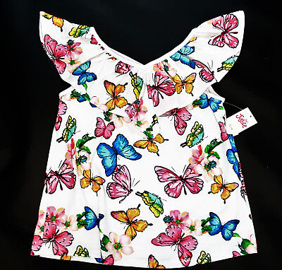 NWT Justice Girls Size 7 8 10 12 14 White Ruffle Butterfly Flower Top Knit Shirt