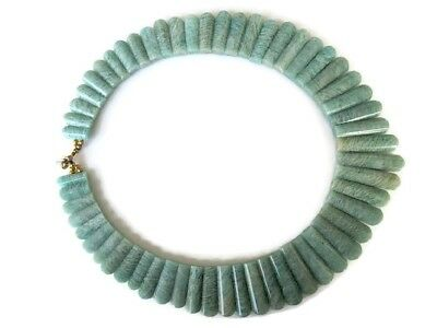 Natural Blue Amazonite Layout Bib Necklace 17x18mm To 38x9mm 21 Inches GDS970