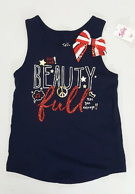 NWT Justice Kids Girls Size 7 8 10 Blue Sparkle Beautiful Bow Tank Top Patriotic