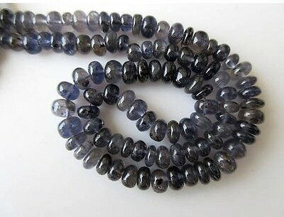 Natural Iolite Smooth Rondelle Beads 12mm-15mm Beads 16 Inch Strand GDS668