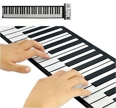 61 Keys Portable Roll Up Flexible Piano USB/Battery MIDI Soft ElectronicKeyboard