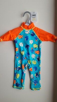 MINI CLUB baby boy 0-3 months blue UV safe sun suit swimming costume cover up