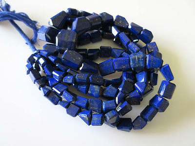 AAA Lapis Lazuli Step Cut Tumbles Faceted Nugget 8mm-15mm Beads 18 Inches GDS723