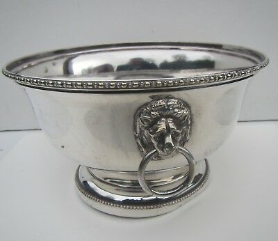 Vintage Silver Plated Serving Bowl with Lion Head Handles