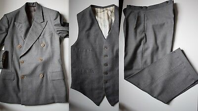 Vintage Early 1940s 3 Piece Grey DB Flannel Suit - Size 36-37Short