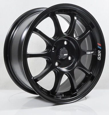 4pcs SSR TYPE F 15 inch Mag Wheels Rim 4X100 Alloy wheel Car FLAT BLACK -1