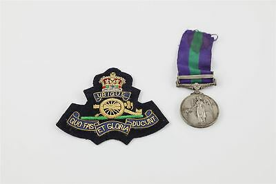 Full Size ER. II General Service Medal with Ribbon & Cyprus Clasp & Blazer Badge