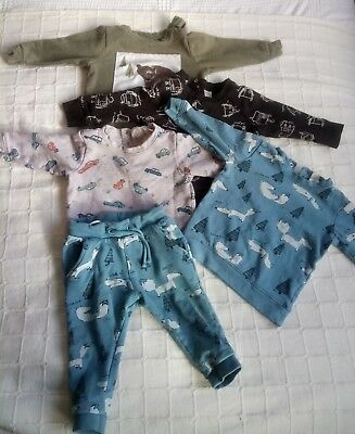 Baby Boys Clothing Bundle 9-12 Months H&M. 4 sweatshirts and 1 joggers.