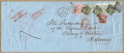 GB / Ireland 1874 registered cover 1/10d rated to Victoria Australia