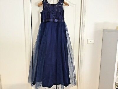 Flower girl dress sz 12 to 14 stunning navy, with full tule skirt lace top NWT