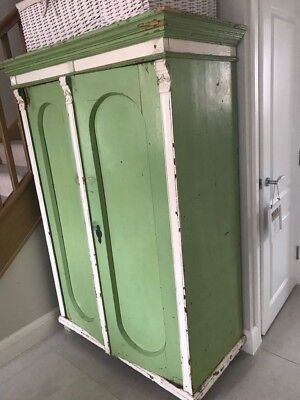 French pine double doors armoire / wardrobe, with original paint.