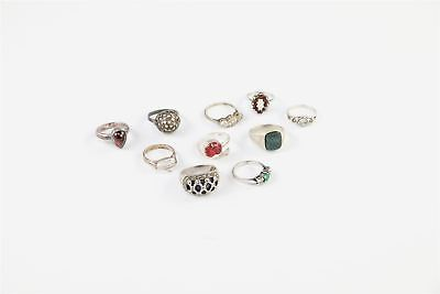 Lot of 10 x Vintage .925 STERLING SILVER Rings MIXED Inc.Stone Set -44g
