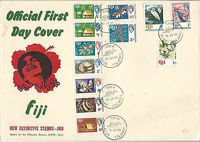 FDC Jumbo Size 1968 Definitive Stamps to 2/- Total 12 Stamps FDI Suva 15 Jy 1968