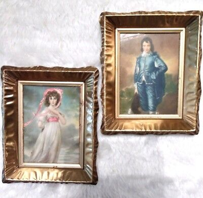 Vintage Blue Boy and Pinkie Pair copper Frames picture set of 2