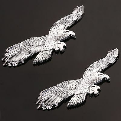 2 x PEEL & STICK CHROME EAGLE CAR BADGE Fender Boot Sticker Silver 3D Decal Sign
