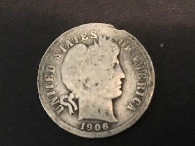 """1906 US """"Barber: Dime.  111 years old."""