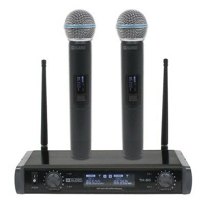 W Audio TM 80 Twin Dual Handheld Wireless Microphone UHF System With Case