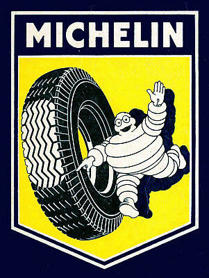 Metal Vintage Shabby-Chic Michelin Tin Plaque / Fridge Magnet