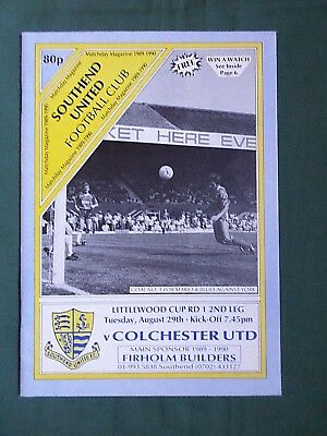 SOUTHEND UNITED vs  COLCHESTER UNITED  LEAGUE CUP -  89/90 -1st ROUND -  2nd LEG
