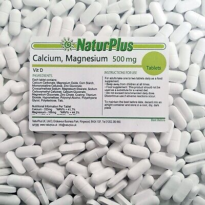 Calcium Magnesium Vitamin D3 500mg Tablets - UK Made by NaturPlus