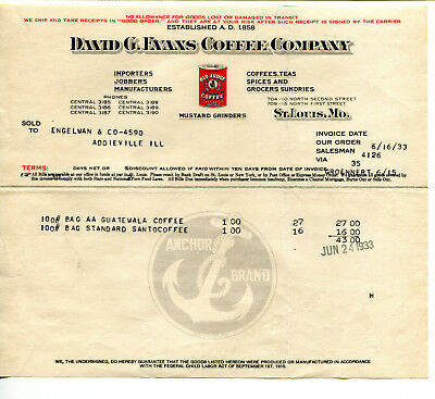 2 1933 David Evans Coffee Co Invoices: Old Judge, Guatemala, Gold Star, Santo