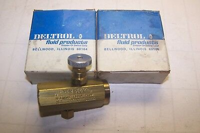 2) New Deltrol Fluid Products Brass Flow Control Valve F20Bk