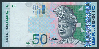 """Malaysia: 1999 RARE 50 Ringgit with LUCKY NUMBER """"7777"""" in Serial. Pick 43c UNC"""
