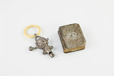 Vintage / Antique HALLMARKED STERLING SILVER Baby Rattle & Prayer Book Front 40g