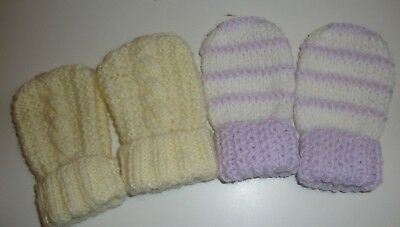 2 Prs Hand Knitted Baby Mittens, Lemon Cable,Lilac/White Stripe, 0-6 Mths, BNWOT