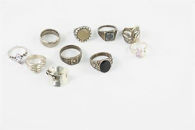 Collection of 10 VINTAGE .925 STERLING SILVER RINGS 50g stone set