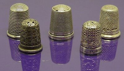 antique/vintage sterling silver thimbles x 5.