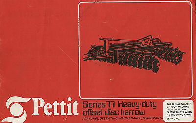 Pettit Series 77 Disc Harrow Parts & Operators Manual