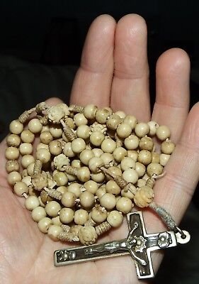 Antique Priest/Nun 15 Decade Bone Corded Rosary (has been repaired)