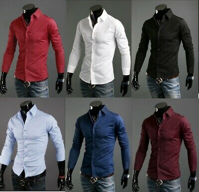 Camicia Uomo Slim Fit Sartoriale In Cotone S M L Xl Xxl  Uomo Fashion