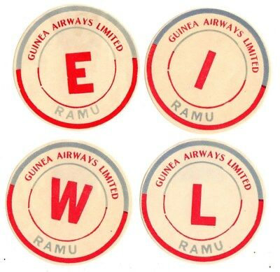 Guinea Airways Limited Airline Baggage Labels Stickers Australia Ramu