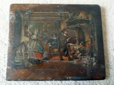 18th / 19th Century Naive Old Master Tavern Scene - Oil on Panel