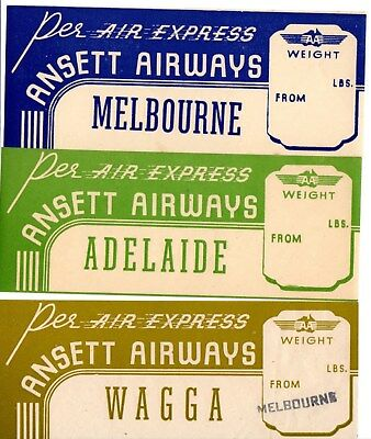 Ansett Airways Airline Baggage Label Stickers 30's Australia Wagga  Melbourne