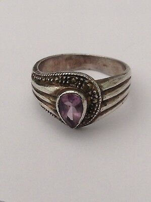 Silver Old Amethyst Marcasite Ring Pretty
