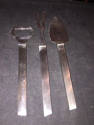 3 Vintage Stainless Barware Items Bottle Opener,fork And Cheese Knife, Italy