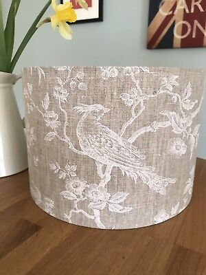 Handmade Lampshade John Lewis French Linen Botanica Bird Fabric, Natural, Branch